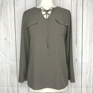 Chicos Lace Up Neck Tunic Top Green Tab Sleeve 1